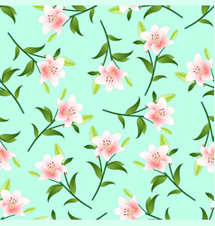 pink lily on green mint background vector image