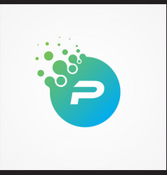 pixel symbol letter p design minimalist vector image