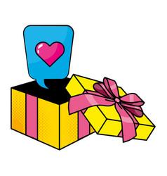 pop art gift box cartoon vector image