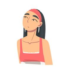 portrait pensive brunette girl looking up vector image