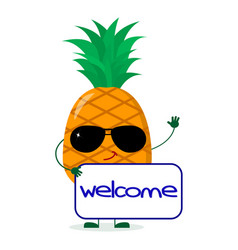 Pretty cartoon character pineapple in sunglasses vector