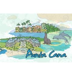 Punta cana doodles vector