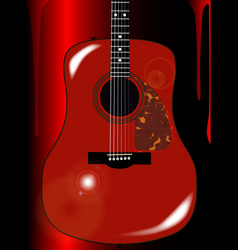 red acoustic guitar background vector image