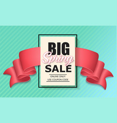 Sale banner with pink realistic ribbon vector