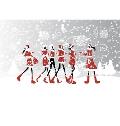 Santa girls for your design vector