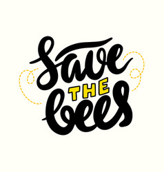save bees lettering or calligraphy creative vector image
