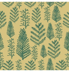 Seamless pattern christmas tree on gold background vector image