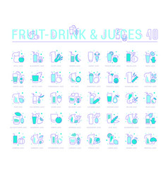 set blue line icons fruit and vegetable juices vector image