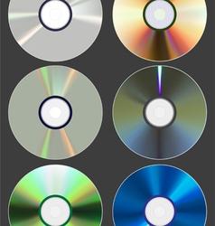 Set discs cd dvd blu-ray vector