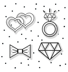 Set groom and bried accesories decoration design vector