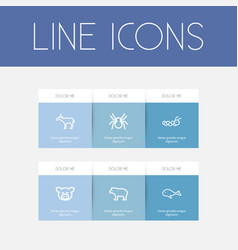 set of 6 editable animal outline icons includes vector image