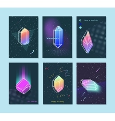 set of neon space 80s style crystals vector image