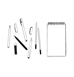 Set of stationary hand draw element sketch vector