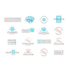 Set retro vintage gambling and casino logo or vector