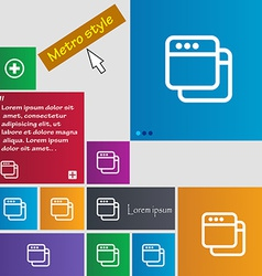 Simple Browser window icon sign Metro style vector