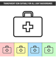 simple outline transparent first aid kit icon on vector image