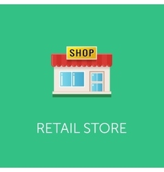 Small retail store icon Front view of the vector