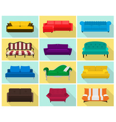 Sofa icon set colored collection in flat vector