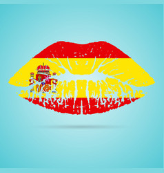 Spain flag lipstick on the lips isolated on a vector