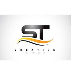 St s t swoosh letter logo design with modern vector