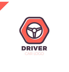 Steering wheel in hexagon icon logotype driver vector
