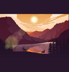 Sunset mountains landscape with forest vector