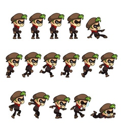 Thief boy game sprites vector