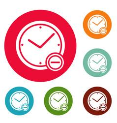 time minus icons circle set vector image