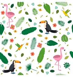 Tropical seamless pattern with pink flamingos vector image