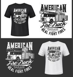 Tshirt print american fire truck mockup vector