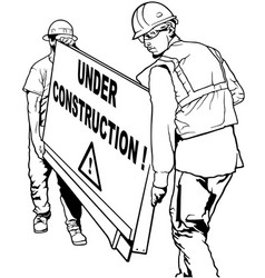 two building workers carrying wooden board vector image