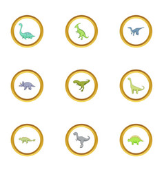 types of dinosaur icons set cartoon style vector image