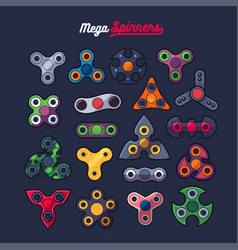 Various spinners shape icons set vector