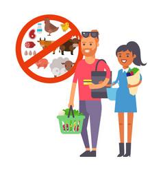 vegan couple buying healthy food vegetarian vector image