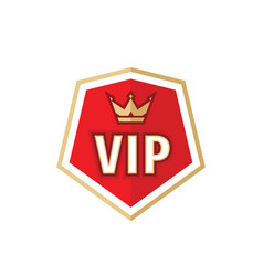 Vip badge logo design element gold crown on red vector