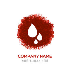 water drop icon - red watercolor circle splash vector image