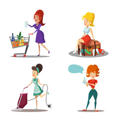 Women cartoons housewife with vacuum cleaner vector