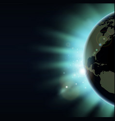 world globe eclipse sunrise concept vector image