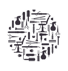 black silhouette of hairdresser objects in flat vector image