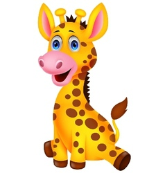Cute baby giraffe cartoon vector image vector image