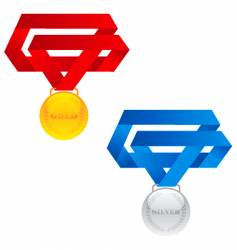 gold and silver medals vector image vector image