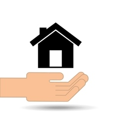 hand holding house home design vector image vector image