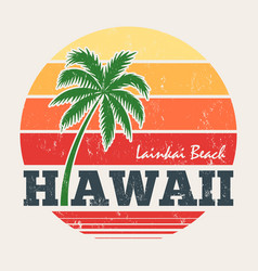 Hawaii lanikai beach tee print with palm tree vector