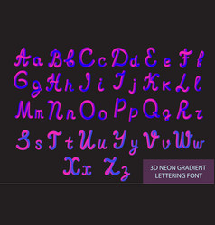neon 3d typeset with rounded shapes tube hand vector image