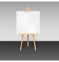 Wooden tripod with a white sheet of paper vector image