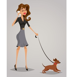 Young woman with a dog vector image vector image
