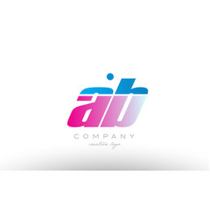ab a b alphabet letter combination pink blue bold vector image vector image