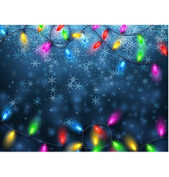 Background with Christmas garland and snow vector image