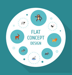 flat icons waterbird moose horse and other vector image