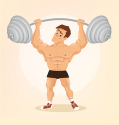 smiling happy bodybuilder man character vector image vector image